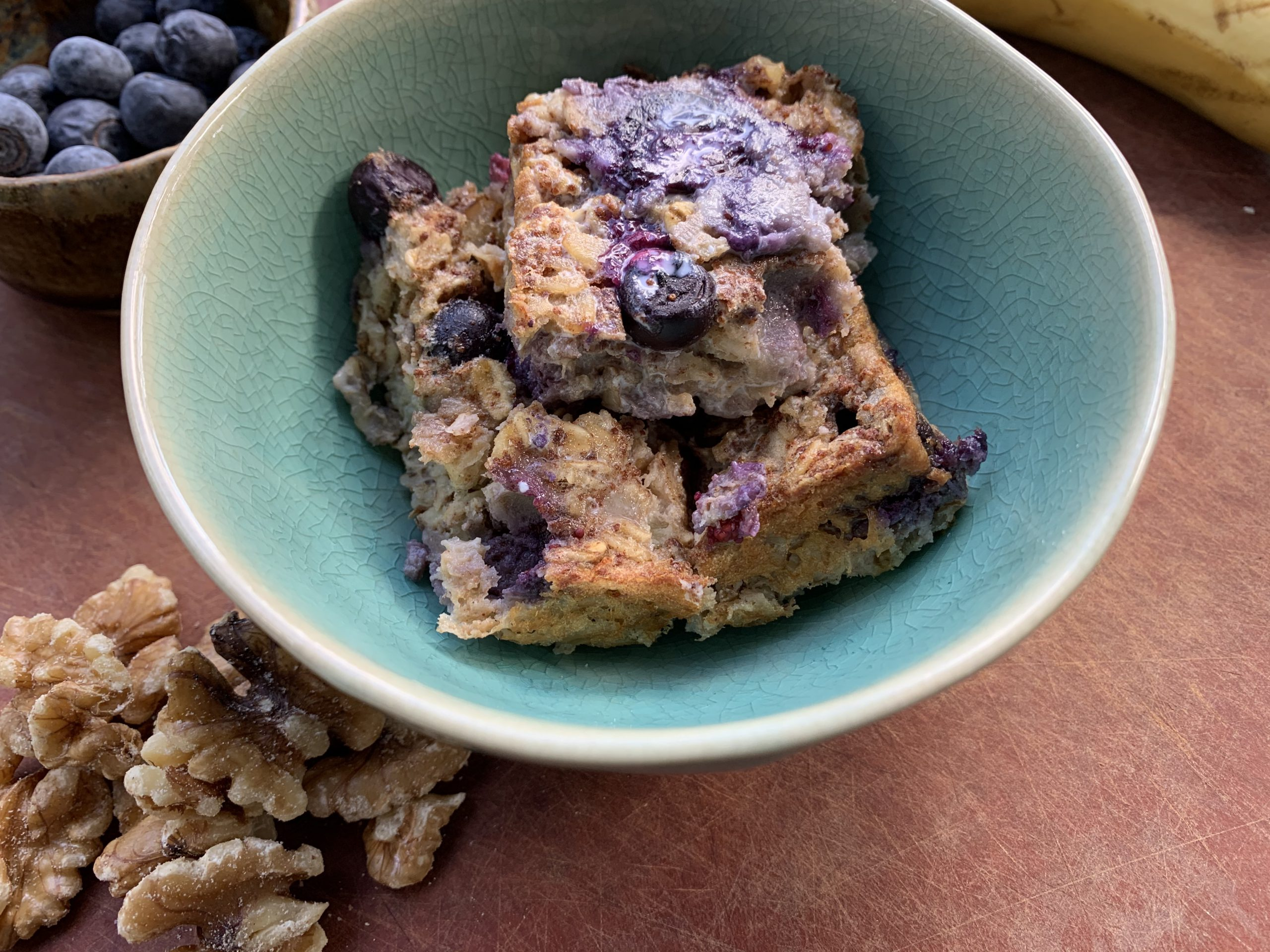 Banana Blueberry Walnut Baked Oatmeal