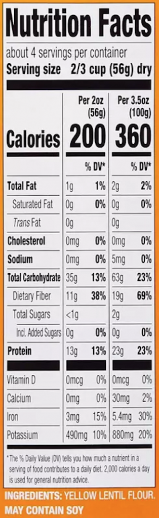 Yellow Lentil Penne Nutrition Facts