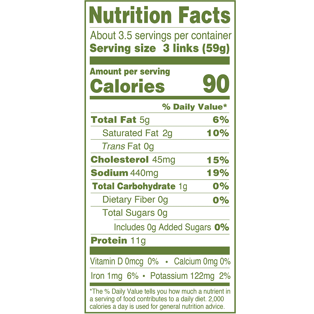 Nutrition Facts including protein