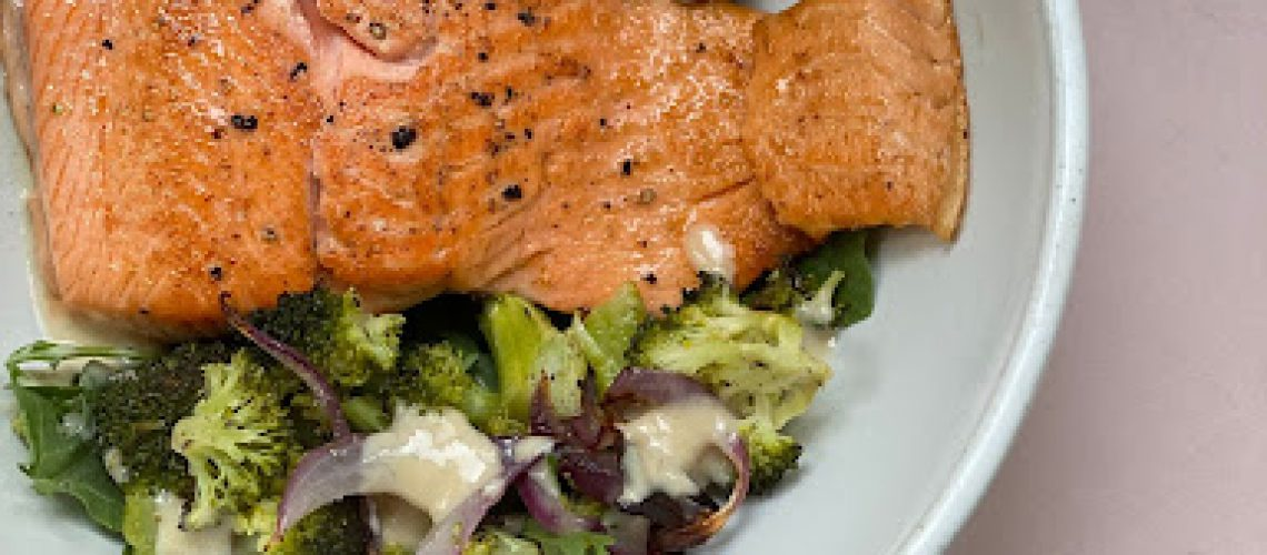 Simple Roasted Salmon and Veggies with Miso Tahini Dressing